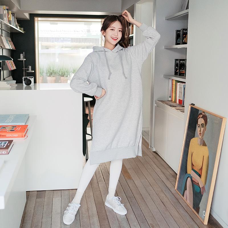 op5923 편안함 최강 사이드 슬릿 기모 롱 후드 원피스 dress