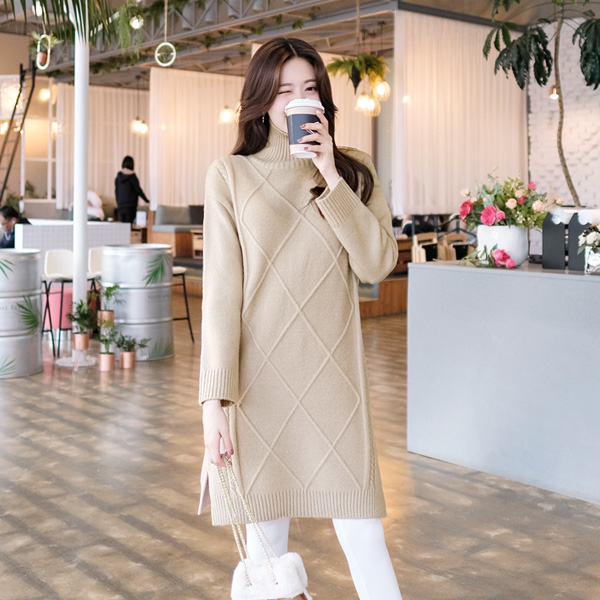 op5943 보들보들 부드럽고 따뜻한 다이아패턴의 루즈핏 폴라넥 니트원피스 dress