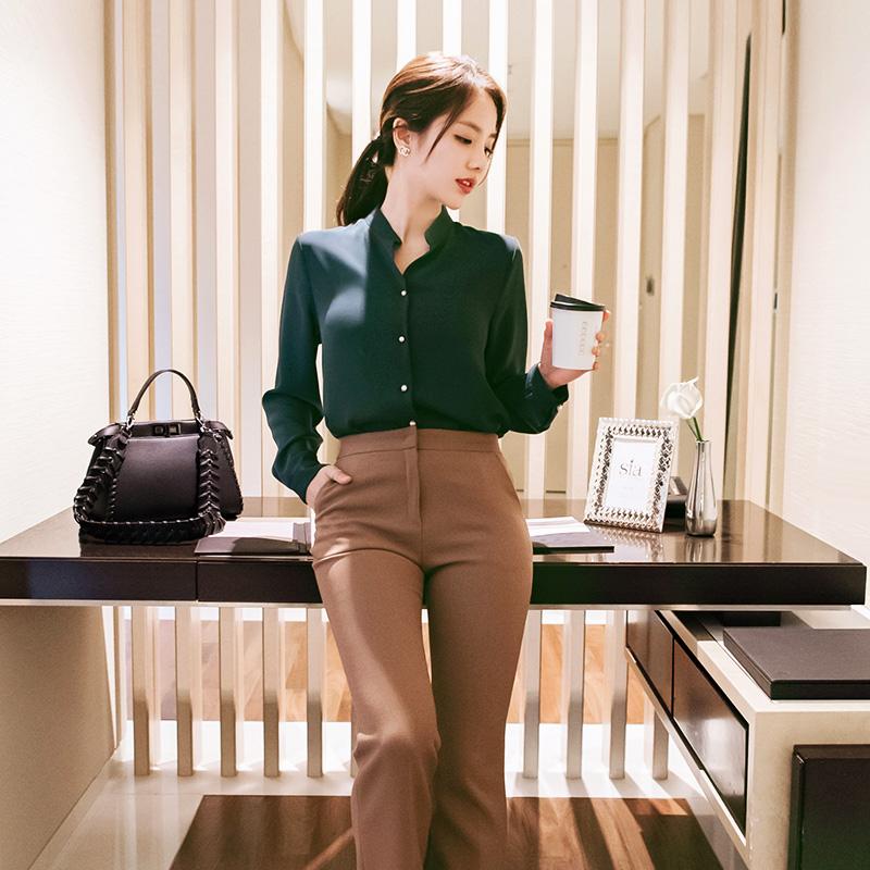 bs3890 여성스럽고 단정한 블링 진주장식의 도톰원단 겨울블라우스 blouse