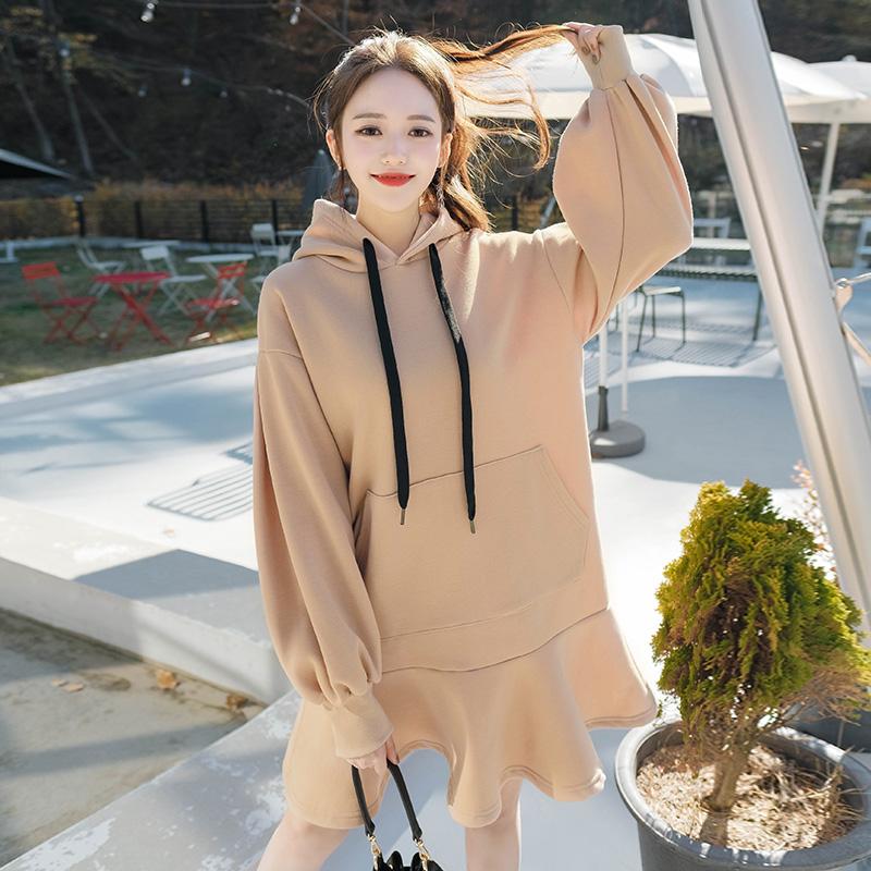 op5971 포근한 기모안감 소재의 러블리한 오버핏 퍼프소매 후드 프릴 원피스 dress
