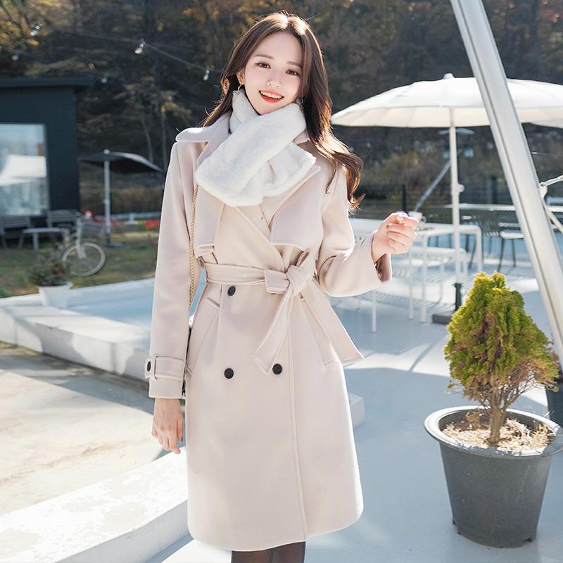 ct940 클래식하고 여성스러운 디자인의 따뜻한 안감누빔 울모직 트렌치코트 coat