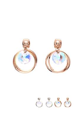ac3685 페미닌한 샴페인 AB큐빅 장식의 투링 라운드 쉐입 백 침 이어링 earring