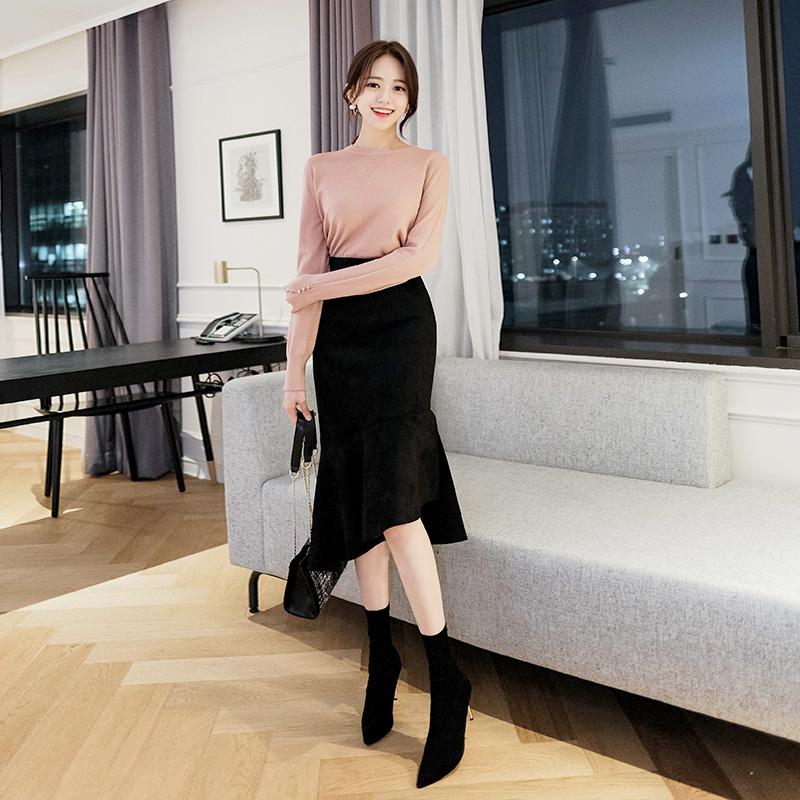 sk3069 여신같은 실루엣을 선사하는 머메이드라인의 스웨이드 언밸런스 프릴 스커트 skirt