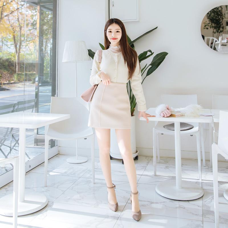 sk3077 도톰한 두께감이 느껴지는 모직패브릭의 베이직 H라인 스커트 skirt