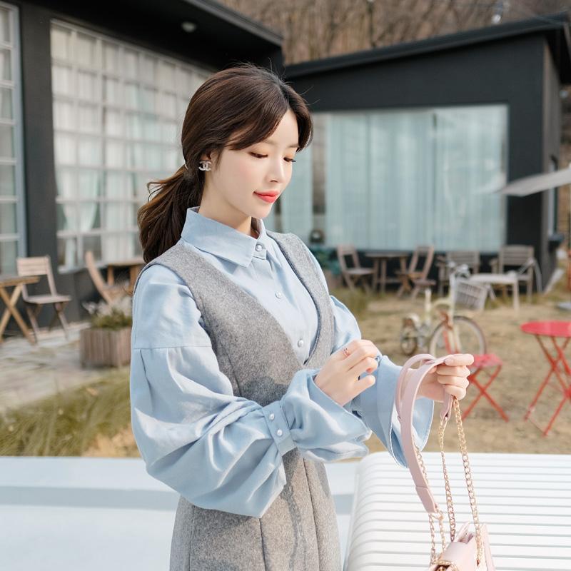 bs3918 진주 단추와 나팔 소매 장식의 기모 셔츠 블라우스 blouse