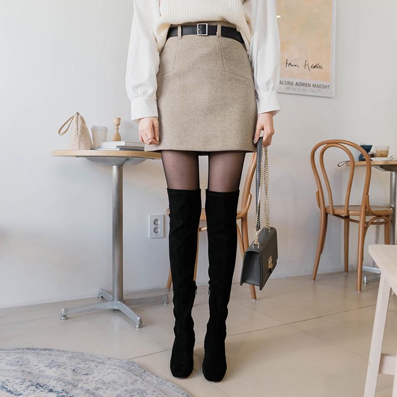 sk3103 깔끔한 벨트 세트로 구성된 세미 A라인의 따뜻한 기모 스커트 skirt