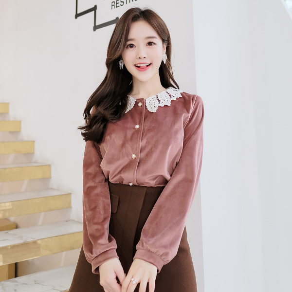 bs3948 빈티지 러블리무드의 벨벳 레이스 블라우스 blouse
