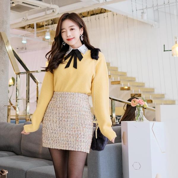 sk3142 컬러풀한 믹스 원사로 포인트 주기 좋은 트위드 스커트 skirt