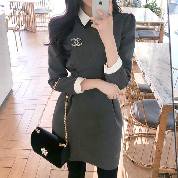 op6174 여성스럽고 단정한 레이스카라 리본스트랩 핀턱 원피스 dress