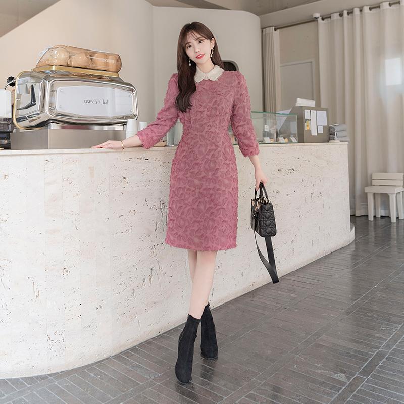 op6166 입체적인 깃털 수술원단의 배색카라넥 H라인 미디원피스 dress