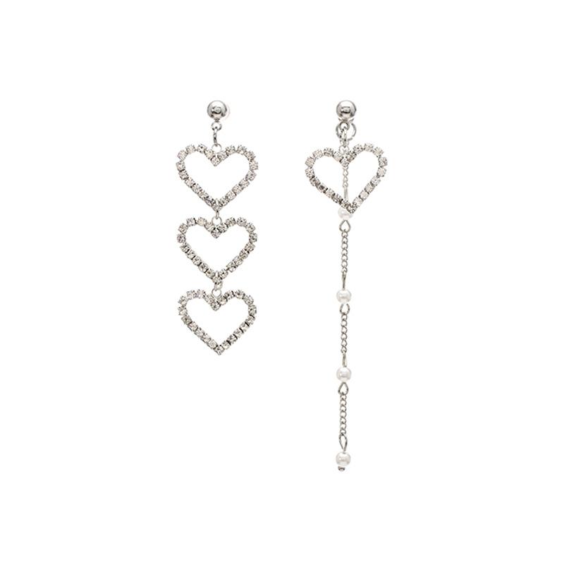 ac3724 언발란스한 디자인의 큐빅하트 포인트 드롭 이어링 earring