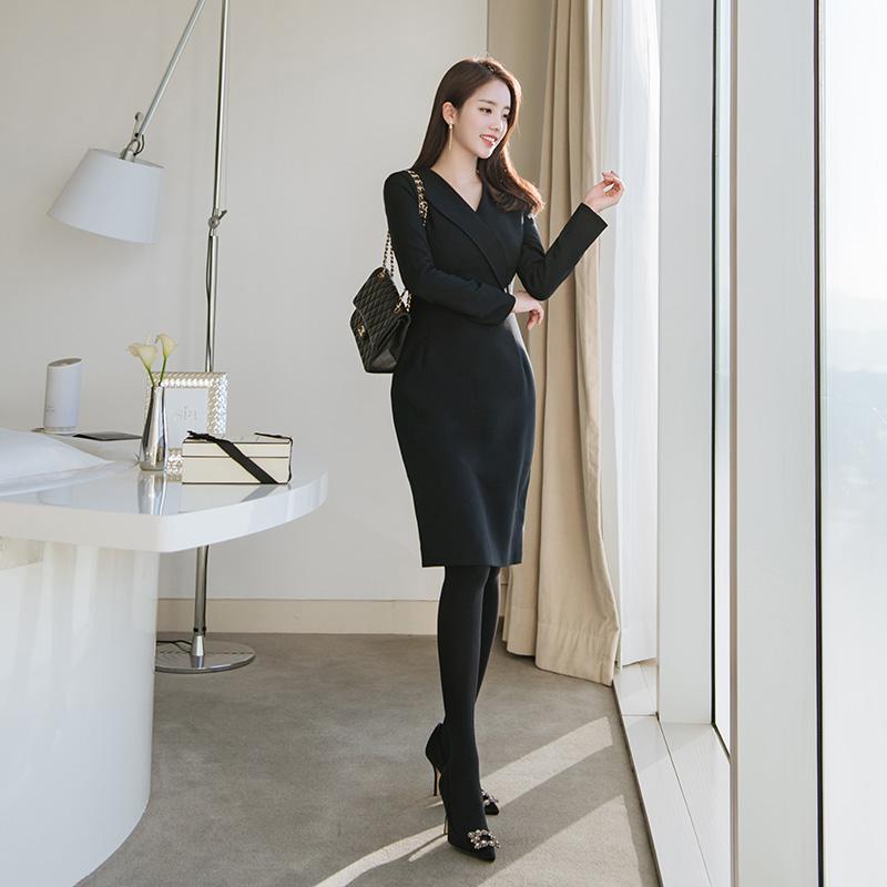 op6219 격식있는 단정한 분위기의 사선카라디테일 오피스 H라인 원피스 dress
