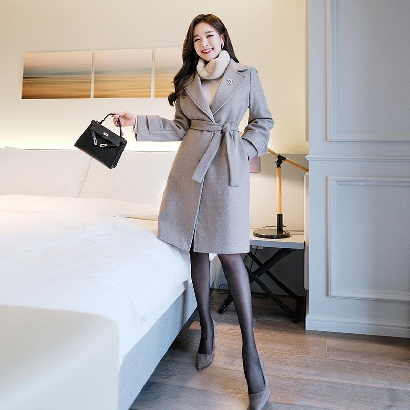 ct995 고급스러운 실루엣과 라인감의 스트랩구성 누빔 울코트 coat