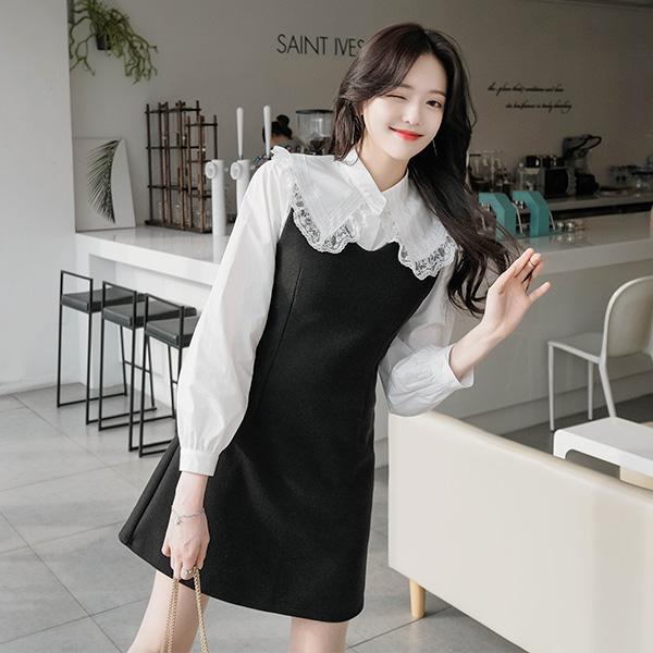 bs4029 상큼 러블리한 프릴 레이스 카라 장식의 화이트 코튼 블라우스 blouse