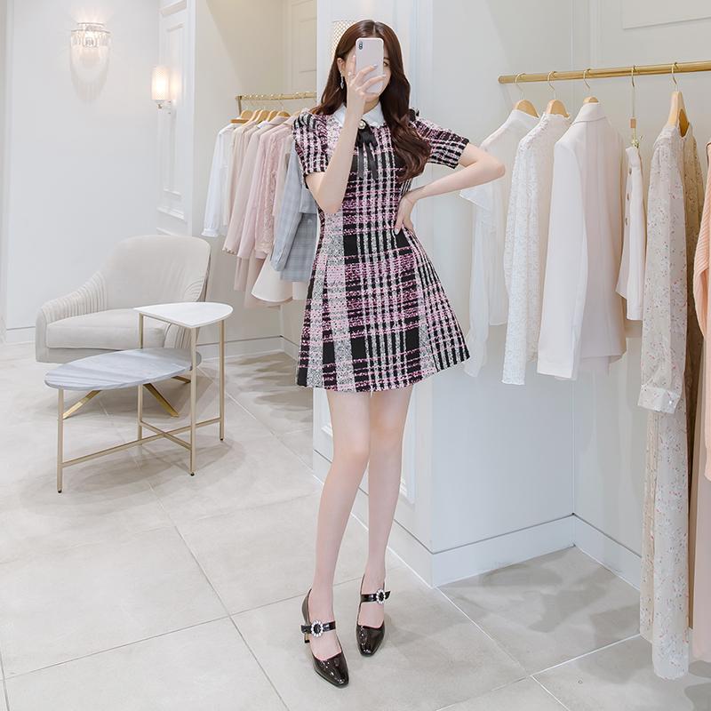 op6291 리본브로치 구성 트위드 로제 원피스 dress