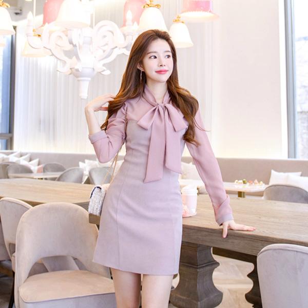 op6296 쉬폰 스카프 세트 구성의 시스루 블랑 H라인 원피스 dress