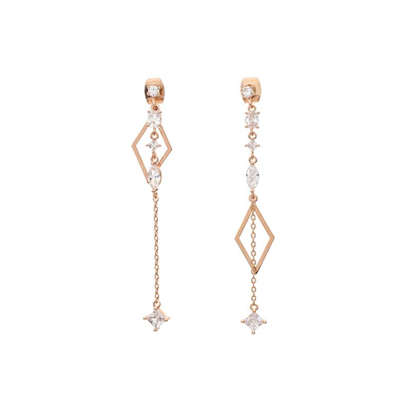 ac3760 다채로운 쉐입의 스몰 큐빅 드롭라인 다이아 펜던트 언발 이어링 earring