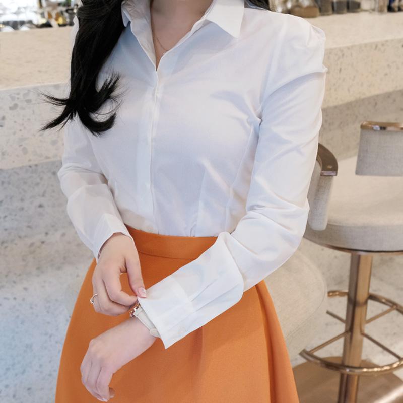 bs4066 쫀쫀한 텐션감의 화이트, 체크 2가지타입 슬림핏 베이직 블라우스 blouse