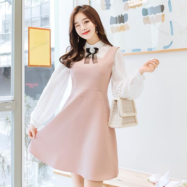 op6400 백라인 리본 포인트의 플레어 민소매 원피스 dress