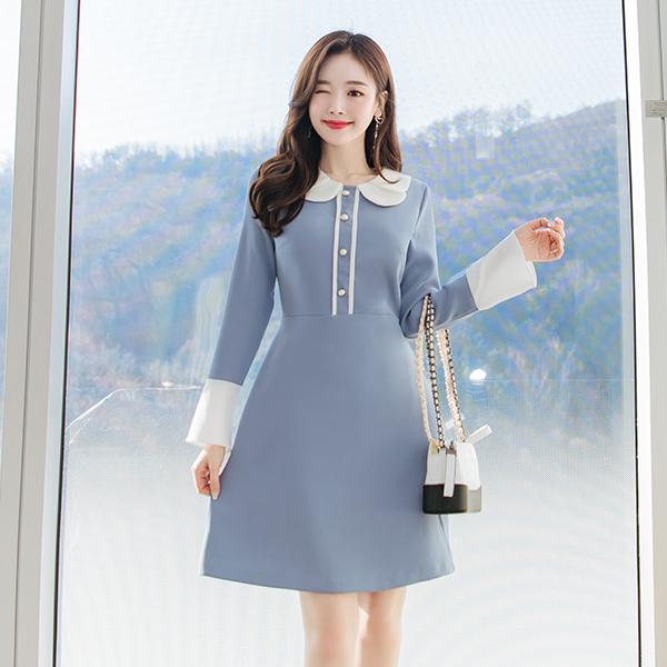 op6433 더블 라운드 카라 디자인의 배색 A라인 원피스 dress