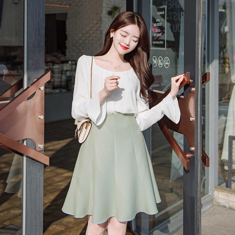 sk3274 로맨틱한 플레어 훌라인의 미디기장 A라인 스커트 skirt