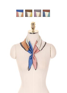 ac3774 화사하고 고급진 컬러 블록 패턴이 돋보이는 정사각형 쉐입의 스카프 scarf