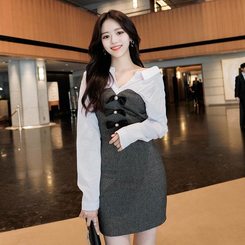 op6495 핫한 아이돌 스타일의 투웨이 오프숄더 배색셔츠 리본장식 슬림핏 원피스 dress
