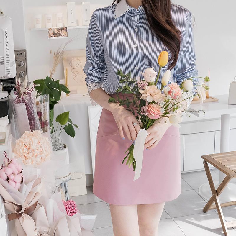 bs4134 감각적인 레이스 배색 포인트 장식의 데일리 스트라이프 셔츠 블라우스 blouse