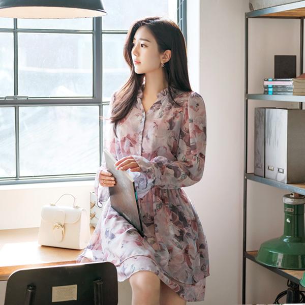 op6571 봄을 부르는 플라워프린팅의 스모크밴딩 쉬폰원피스 dress