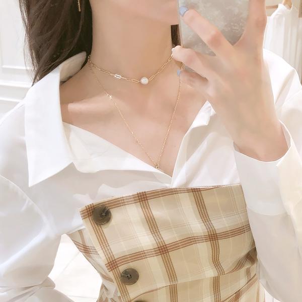 ac3814 언발런스한 레이어드 디자인에 페미닌한 담수 진주로 포인트 준 네크리스 세트 necklace