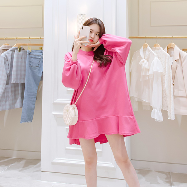 op6550 데일리하게 입기 좋은 루즈핏 밑단 프릴 맨투맨 퍼프소매 미니 원피스 dress