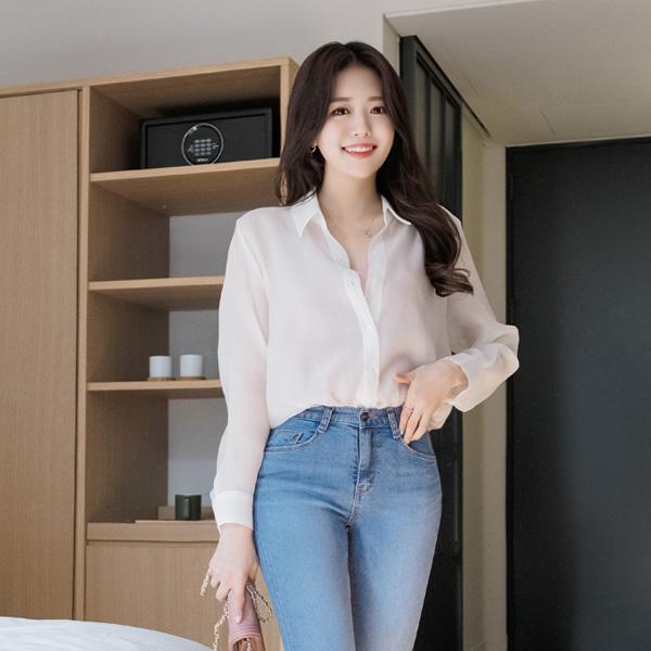 bs4182 여리여리 스타일리쉬한 시스루 소재의 심플 카라 블라우스 blouse