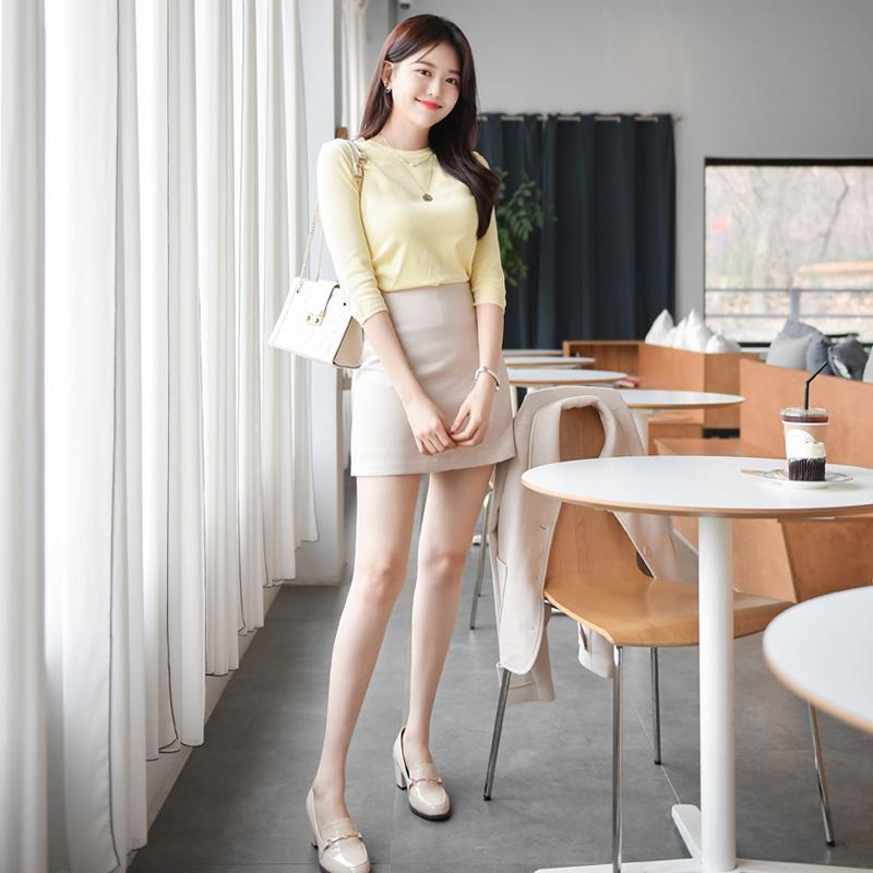 sk3368 깔끔한 베이직 라인의 튼튼한 트위드조직 미니 스커트 skirt