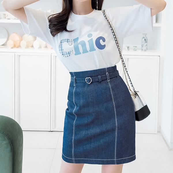 sk3370 스티치 포인트의 러블리한 하트버클 벨트 데님 스커트 skirt