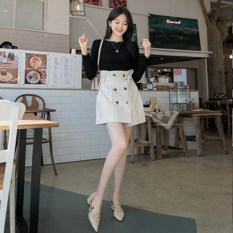 sk3388 트렌치코트를 연상시키는 감각적인 디자인의 더블버튼 리본 스커트 skirt