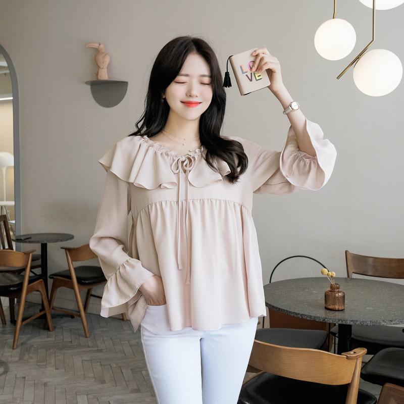 bs4226 사랑스러운 리본 프릴넥 장식의 베이비돌 엔젤 쉬폰 블라우스 blouse