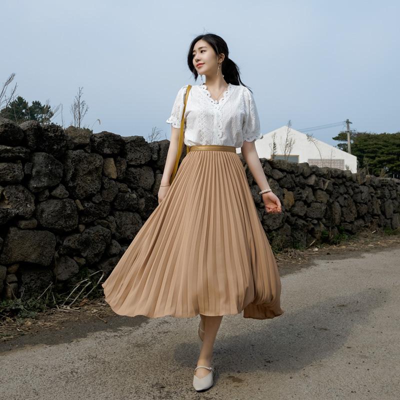 sk3402 로맨틱 플레어라인의 플리츠 주름디자인 밴딩 롱스커트 skirt