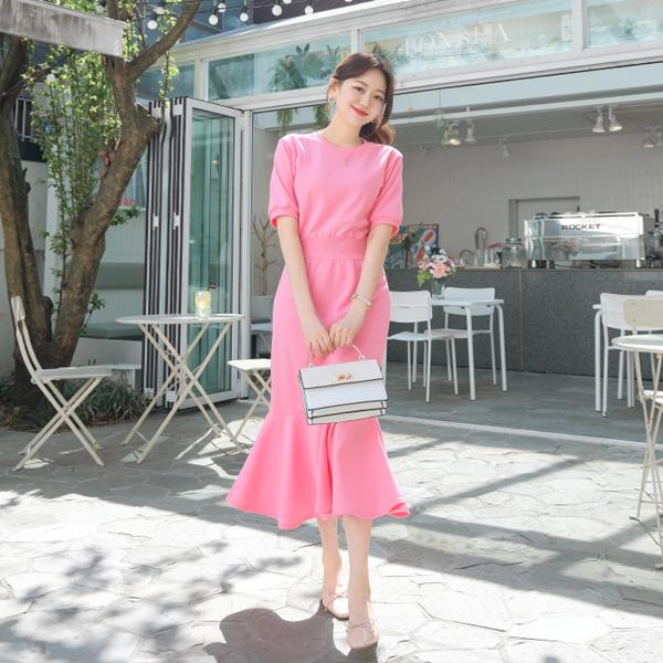op6857 독보적인 컬러감의 슬림 머메이드 맨투맨 롱 원피스 dress