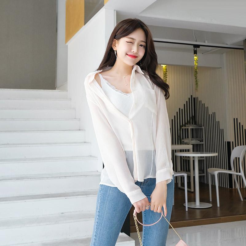 bs4277 여리한 바디라인을 선사할 요루 쉬폰 패브릭의 시크릿 플랩 시스루 블라우스 blouse