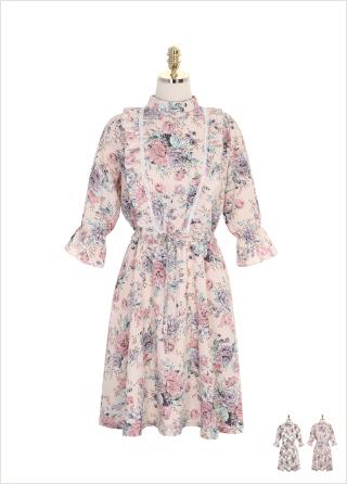 op6874 프릴과 스트링 포인트의 밴딩 나팔소매 플라워 원피스 dress