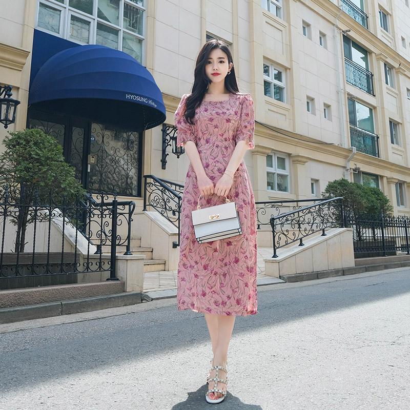 op6865 시선집중 튤립플라워패턴의 뒷리본 스퀘어넥 롱원피스 dress
