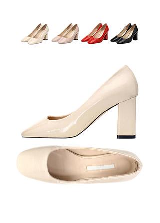 sh1412 매끈한 에나멜 광택감의 베이직 통굽 펌프스 shoes