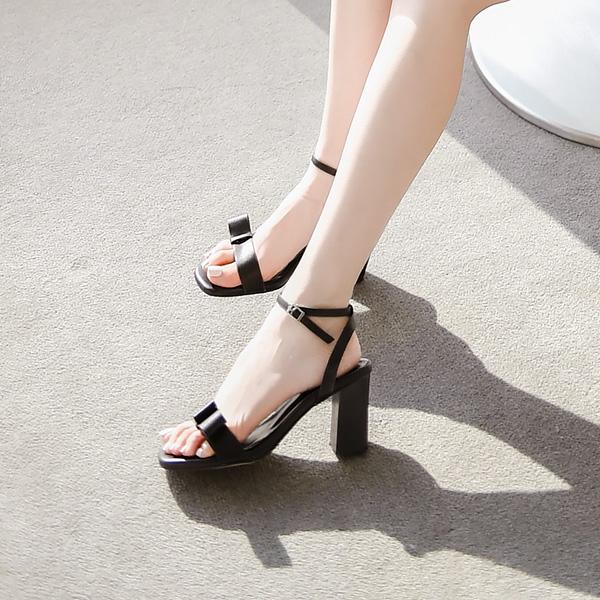 sh1413 단아한 사이드 리본 장식 메리제인 통굽 힐 shoes