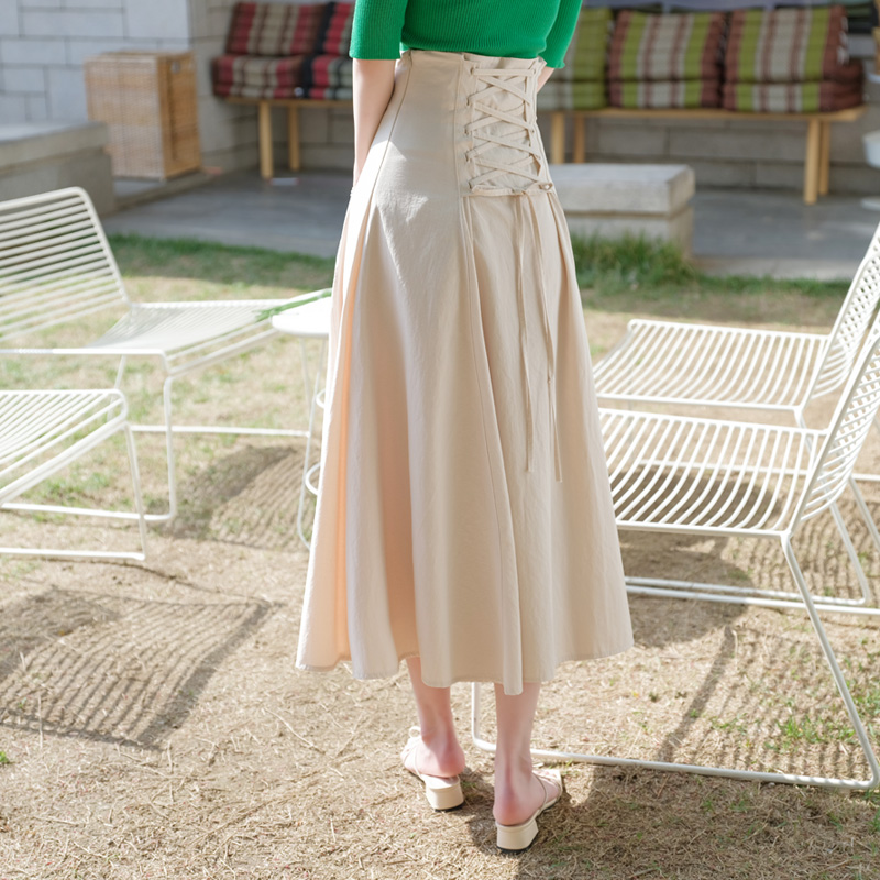 sk3461 백 아일렛 디테일의 하이웨이스트 A라인 플레어 롱 스커트 skirt
