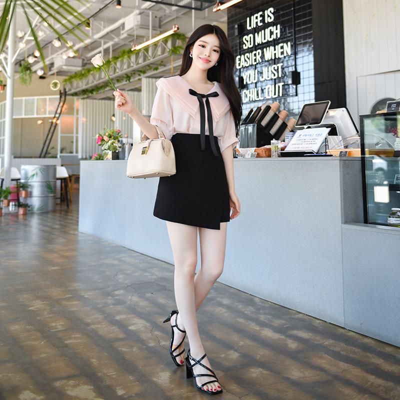 sk3460 언밸런스한 랩 디자인의 H라인 미니 스커트 skirt