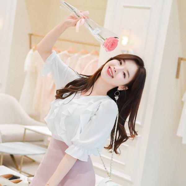 bs4317 로맨틱한 물결라인 훌포인트 쉬폰 블라우스 blouse
