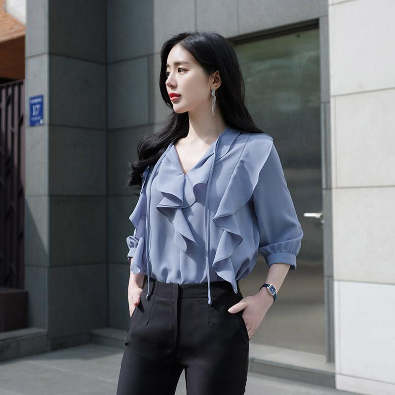 bs4321 퀄리티높은 원단의 입체적 러플디자인 리본스트링 7부소매 블라우스 blouse