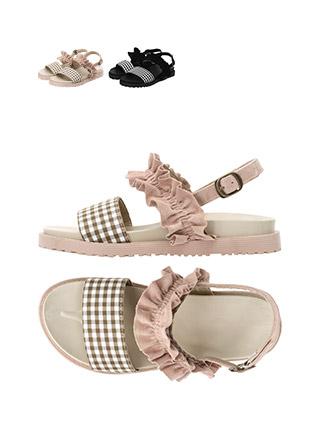 sh1429 체크, 프릴 포인트로 한껏 여성스럽게 완성된 투스트랩 샌들 shoes