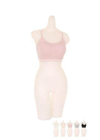 un203 더블 엑스 스트랩 디자인의 면 골지 스포츠 브라 underwear