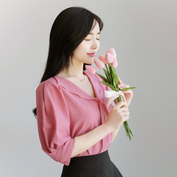 bs4346 우아하며 여성스런 감성의 시원한 썸머원단 맞주름 반팔블라우스 blouse